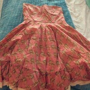 Pink Floral Strapless Dress